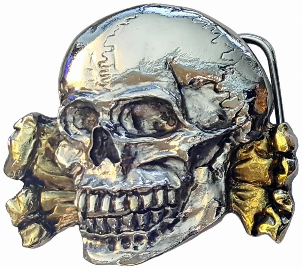 Totenkopf Skull And Crossbones Gold And Silver Plated Belt